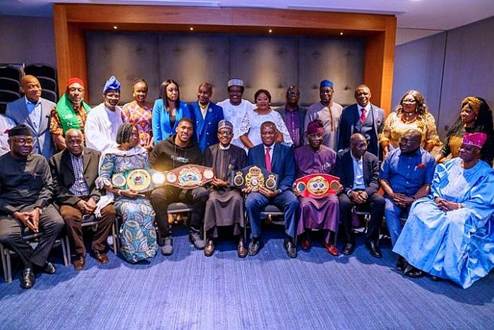 Anthony Joshua Prostrates As He Presents Heavyweight Titles To Buhari In UK (Photos) 3 187